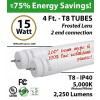 15W LED Tube 4Ft T8 2250Lm 5000K Frosted By-pass ballast