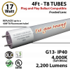 17W LED T8 Glass Tube Frosted 2200 Lumens 4000K Ballast Compatible