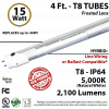 15W LED T8 Aluminum Tube Light 5000K Frosted Lens 2100 Lumens Plug & Play or Line Wiring (Hybrid)