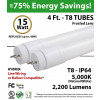 15W LED Tube 4Ft 2200Lm 5000K Frosted 2 End Line | Inst Start ballast