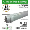 18W 4ft LED T8 Tube, 2200Lm, 5000K Frosted IP40 UL 2 End Power