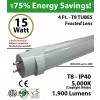 15W 4ft LED T8 Tube, 1900Lm, 5000K Clear IP40 UL Hybrid