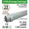 15w 4ft LED T8 Tube Light 1900Lm 4000K Frosted 2 End Power