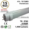 15w 4ft LED T8 Tube Light 1900Lm 4000K Frosted Hybrid