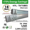18w 4ft LED T8 Tube Light 2200Lm 5000K Frosted 2 End Power