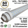8 Ft. T8 LED Tube 60 Watt 9000Lm 6000K Clear Lens
