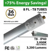 8ft LED T8 Tube Light Bulb 3200Lm 3000K Clear Lens 36 watt