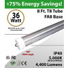 8 Ft LED tube clear lens 5000K 4400 lumens
