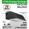 70W LED Full Cut off Wall Pack 7200 Lumens 5000K IP65 UL DLC