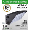150W LED Half Cut off Wall Pack 16000 Lumens 5000K IP65 UL DLC