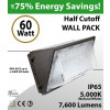 60W LED Wall Pack HALF CUTOFF 7600 Lm DLC 5000K