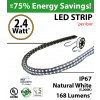 2.4W p/feet LED STRIP per foot Natural white (5,000K) 70 Lumens p/watt