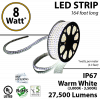 8W p/meter (2.4W p/feet) LED STRIP 50 Meters (164 ft) Warm white  (3,000K-3,500K) 70 Lumens p/watt