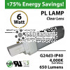 6W, PL LED Bulb lamp 650Lm 4000K Frosted Lens G24-d3 IP40 UL. Direct Line (Remove Ballast)