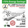 5W PL LED Lamp 500Lm 3000K Frosted Lens G24q IP40 UL. Ballast compatible