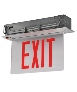 Emergency Exit Sign Recessed Edge-lit Battery Backup Singled Face White Panel Green