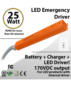 LED Emergency Driver 25 Watt Field Install able for internal driver products