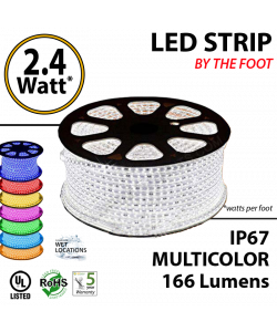 2.4 Watt p/feet LED STRIP Ropelight per foot ft Multicolor RGB 70 Lm p/watt