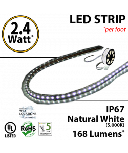 2.4W p/feet LED STRIP per foot Natural white (5,000K) 70 Lumens p/watt