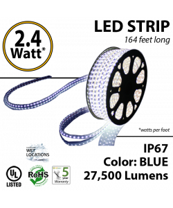 2.4 Watt p/feet LED STRIP Ropelight 164 ft Color Blue 70 Lm p/watt