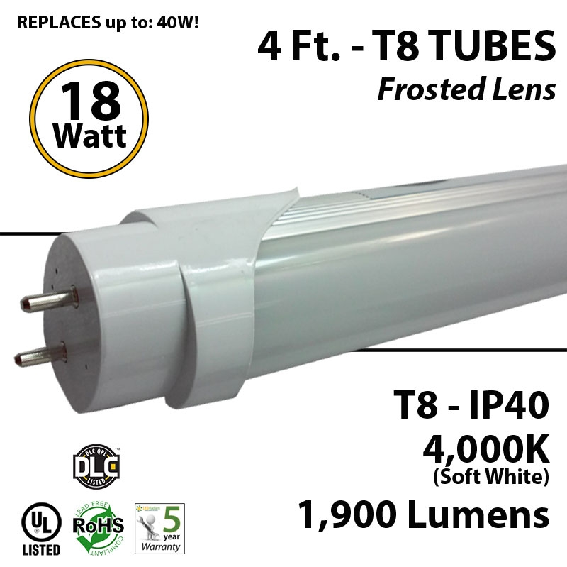 18w 4ft Led T8 Tube Light Fluorescent Replacement 4000k Equal 32w