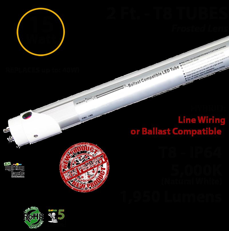 15w 2 Ft  Led T8 Aluminum Tube Light 5000k Frosted Lens 2100 Lumens Plug  U0026 Play Or Line Wiring