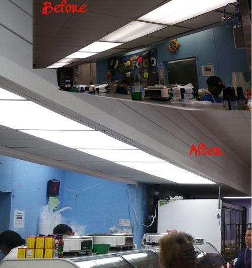 Food Market using Ledradiant 100w LED corn bulb light