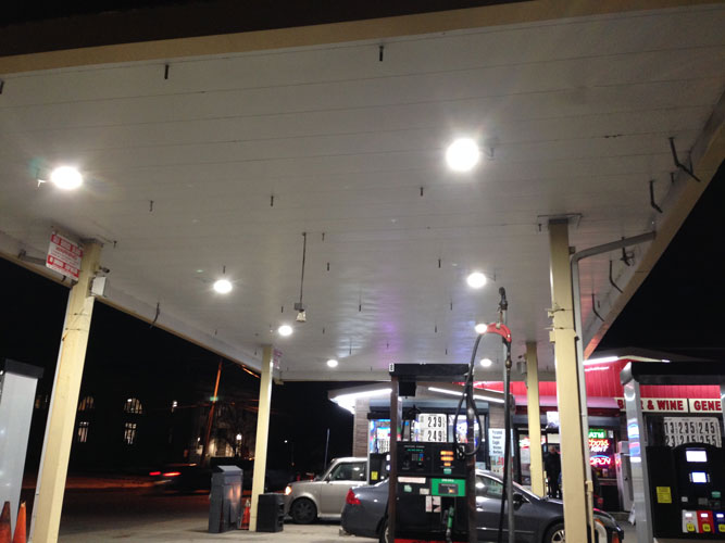LED Canopy pump island gas station saves 75% in electric bill
